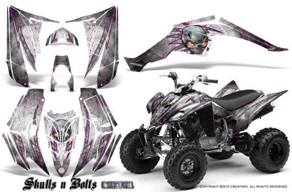 Yamaha Raptor 350 CreatorX Graphics Kit Skulls Bolts Metal Pink White 570x376 - Yamaha Raptor 350 Graphics
