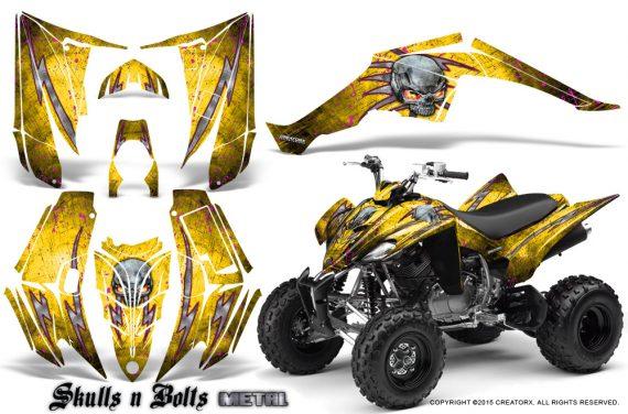 Yamaha Raptor 350 CreatorX Graphics Kit Skulls Bolts Metal Pink Yellow 570x376 - Yamaha Raptor 350 Graphics