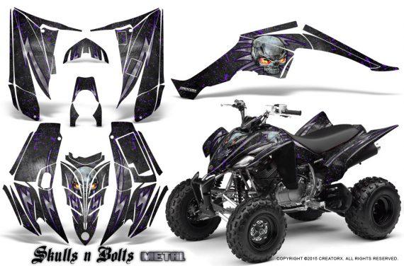 Yamaha Raptor 350 CreatorX Graphics Kit Skulls Bolts Metal Purple Black 570x376 - Yamaha Raptor 350 Graphics