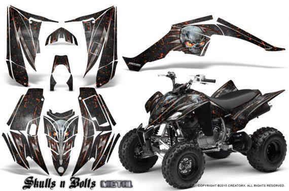 Yamaha Raptor 350 CreatorX Graphics Kit Skulls Bolts Metal Red Black 570x376 - Yamaha Raptor 350 Graphics