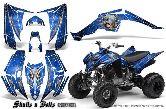 Yamaha Raptor 350 CreatorX Graphics Kit Skulls Bolts Metal White Blue 570x376 - Yamaha Raptor 350 Graphics