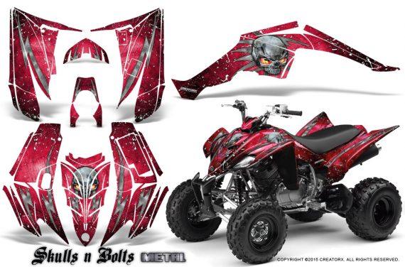 Yamaha Raptor 350 CreatorX Graphics Kit Skulls Bolts Metal White Red 570x376 - Yamaha Raptor 350 Graphics