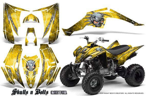 Yamaha Raptor 350 CreatorX Graphics Kit Skulls Bolts Metal White Yellow 570x376 - Yamaha Raptor 350 Graphics