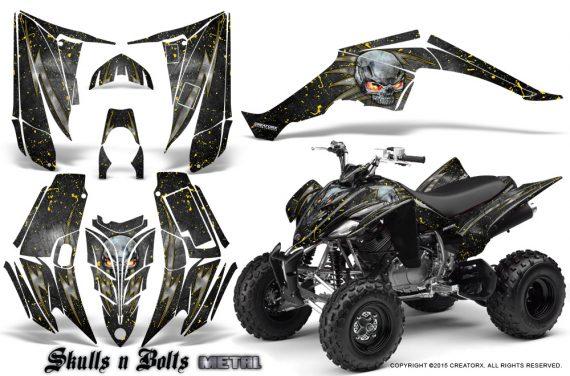 Yamaha Raptor 350 CreatorX Graphics Kit Skulls Bolts Metal Yellow Black 570x376 - Yamaha Raptor 350 Graphics