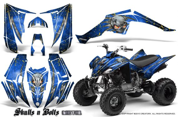 Yamaha Raptor 350 CreatorX Graphics Kit Skulls Bolts Metal Yellow Blue 570x376 - Yamaha Raptor 350 Graphics