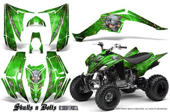 Yamaha Raptor 350 CreatorX Graphics Kit Skulls Bolts Metal Yellow Green 570x376 - Yamaha Raptor 350 Graphics
