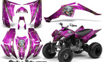 Yamaha Raptor 350 CreatorX Graphics Kit Skulls Bolts Metal Yellow Pink 150x90 - Yamaha Raptor 350 Graphics