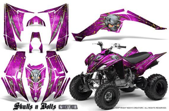 Yamaha Raptor 350 CreatorX Graphics Kit Skulls Bolts Metal Yellow Pink 570x376 - Yamaha Raptor 350 Graphics