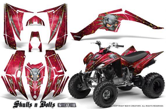Yamaha Raptor 350 CreatorX Graphics Kit Skulls Bolts Metal Yellow Red 570x376 - Yamaha Raptor 350 Graphics