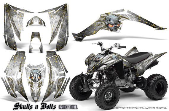 Yamaha Raptor 350 CreatorX Graphics Kit Skulls Bolts Metal Yellow White 570x376 - Yamaha Raptor 350 Graphics