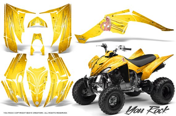 Yamaha Raptor 350 CreatorX Graphics Kit You Rock Yellow 570x376 - Yamaha Raptor 350 Graphics