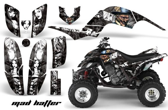 Yamaha Raptor 660 AMR Graphics MadHatter Black Whitestripe 570x376 - Yamaha Raptor 660 Graphics