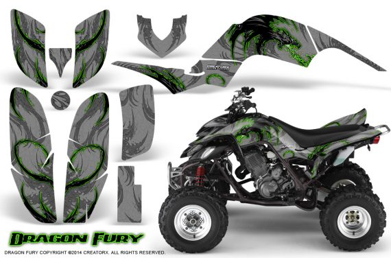 Yamaha Raptor 660 CreatorX Graphics Kit Dragon Fury Green Silver 570x376 - Yamaha Raptor 660 Graphics
