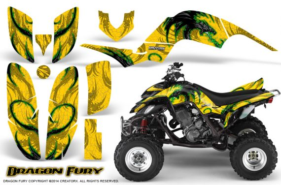 Yamaha Raptor 660 CreatorX Graphics Kit Dragon Fury Green Yellow 570x376 - Yamaha Raptor 660 Graphics