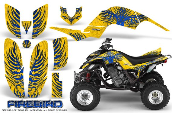 Yamaha Raptor 660 CreatorX Graphics Kit Firebird Blue Yellow 570x376 - Yamaha Raptor 660 Graphics