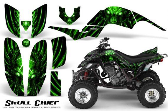 Yamaha Raptor 660 CreatorX Graphics Kit Skull Chief Green 570x376 - Yamaha Raptor 660 Graphics