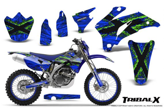 Yamaha WR 250 450 07 10 CreatorX Graphics Kit TribalX Green Blue NP Rims 570x376 - Yamaha WR450F 2007-2011 Graphics