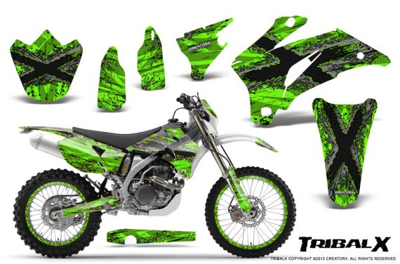 Yamaha WR 250 450 07 10 CreatorX Graphics Kit TribalX Silver Green NP Rims 570x376 - Yamaha WR450F 2007-2011 Graphics