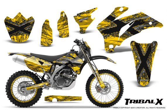 Yamaha WR 250 450 07 10 CreatorX Graphics Kit TribalX Silver Yellow NP Rims 570x376 - Yamaha WR450F 2007-2011 Graphics