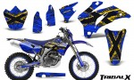 Yamaha WR 250 450 07 10 CreatorX Graphics Kit TribalX Yellow Blue NP Rims 150x90 - Yamaha WR450F 2007-2011 Graphics