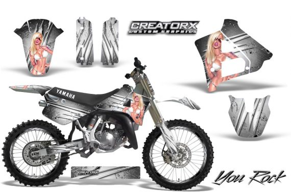 Yamaha YZ125 91 92 CreatorX Graphics Kit You Rock White NP Rims 570x376 - Yamaha YZ125 2 Stroke 1991-1992 Graphics