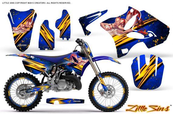 Yamaha YZ125 YZ250 02 12 CreatorX Graphics Kit Little Sins Blue NP Rims 570x376 - Yamaha YZ125 YZ250 2 Stroke 2002-2014 Graphics