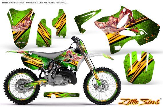 Yamaha YZ125 YZ250 02 12 CreatorX Graphics Kit Little Sins Green NP Rims 570x376 - Yamaha YZ125 YZ250 2 Stroke 2002-2014 Graphics