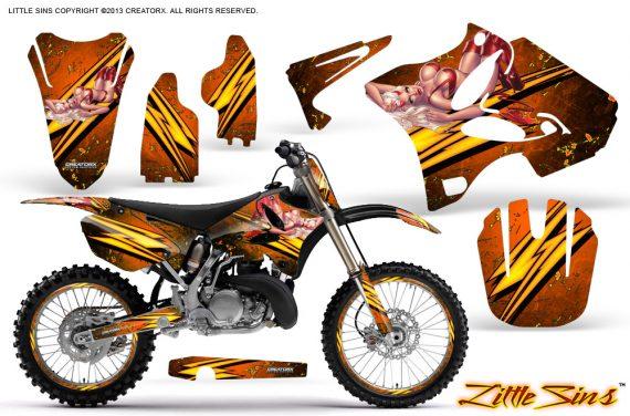 Yamaha YZ125 YZ250 02 12 CreatorX Graphics Kit Little Sins Orange NP Rims 570x376 - Yamaha YZ125 YZ250 2 Stroke 2002-2014 Graphics