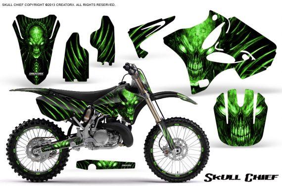 Yamaha YZ125 YZ250 02 12 CreatorX Graphics Kit Skull Chief Green NP Rims 570x376 - Yamaha YZ125 YZ250 2 Stroke 2002-2014 Graphics