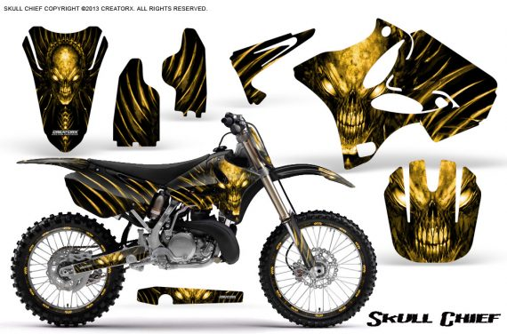 Yamaha YZ125 YZ250 02 12 CreatorX Graphics Kit Skull Chief Yellow NP Rims 570x376 - Yamaha YZ125 YZ250 2 Stroke 2002-2014 Graphics