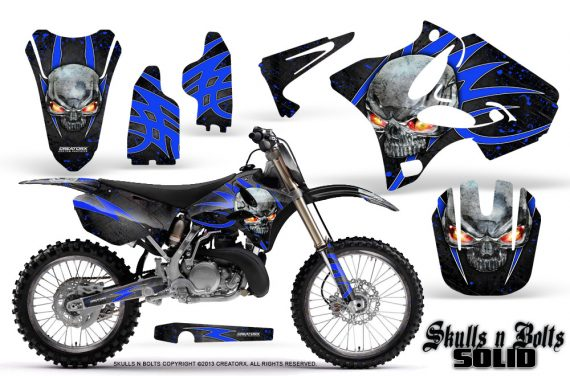 Yamaha YZ125 YZ250 02 12 CreatorX Graphics Kit Skulls n Bolts Solid Blue Black NP Rims 570x376 - Yamaha YZ125 YZ250 2 Stroke 2002-2014 Graphics