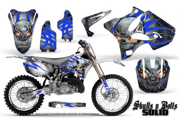 Yamaha YZ125 YZ250 02 12 CreatorX Graphics Kit Skulls n Bolts Solid Blue White NP Rims 570x376 - Yamaha YZ125 YZ250 2 Stroke 2002-2014 Graphics