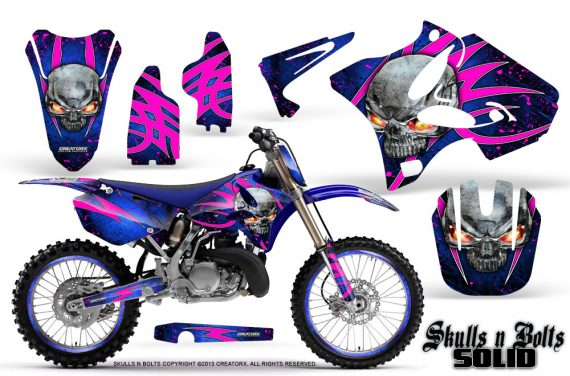 Yamaha YZ125 YZ250 02 12 CreatorX Graphics Kit Skulls n Bolts Solid Pink Blue NP Rims 570x376 - Yamaha YZ125 YZ250 2 Stroke 2002-2014 Graphics