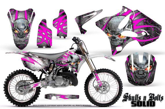 Yamaha YZ125 YZ250 02 12 CreatorX Graphics Kit Skulls n Bolts Solid Pink White NP Rims 570x376 - Yamaha YZ125 YZ250 2 Stroke 2002-2014 Graphics