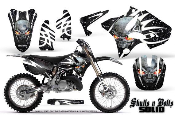 Yamaha YZ125 YZ250 02 12 CreatorX Graphics Kit Skulls n Bolts Solid White Black NP Rims 570x376 - Yamaha YZ125 YZ250 2 Stroke 2002-2014 Graphics