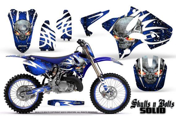 Yamaha YZ125 YZ250 02 12 CreatorX Graphics Kit Skulls n Bolts Solid White Blue NP Rims 570x376 - Yamaha YZ125 YZ250 2 Stroke 2002-2014 Graphics