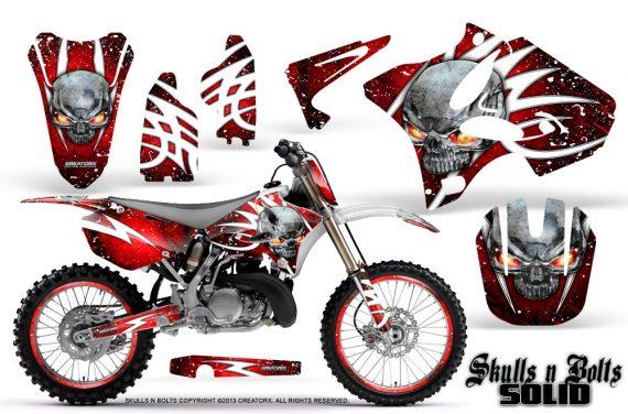 Yamaha YZ125 YZ250 02 12 CreatorX Graphics Kit Skulls n Bolts Solid White Red NP Rims 570x376 - Yamaha YZ125 YZ250 2 Stroke 2002-2014 Graphics