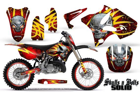 Yamaha YZ125 YZ250 02 12 CreatorX Graphics Kit Skulls n Bolts Solid Yellow Red NP Rims 570x376 - Yamaha YZ125 YZ250 2 Stroke 2002-2014 Graphics