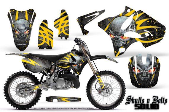 Yamaha YZ125 YZ250 02 12 CreatorX Graphics Kit Skulls n Bolts Solid Yellow Silver NP Rims 570x376 - Yamaha YZ125 YZ250 2 Stroke 2002-2014 Graphics