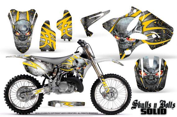 Yamaha YZ125 YZ250 02 12 CreatorX Graphics Kit Skulls n Bolts Solid Yellow White NP Rims 570x376 - Yamaha YZ125 YZ250 2 Stroke 2002-2014 Graphics