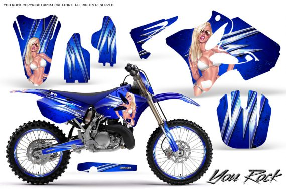 Yamaha YZ125 YZ250 02 12 CreatorX Graphics Kit You Rock Blue NP Rims 570x376 - Yamaha YZ125 YZ250 2 Stroke 2002-2014 Graphics