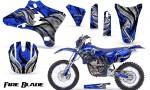 Yamaha YZ250 YZ450 03 05 WR250 WR450 05 06 CreatorX Graphics Kit Fire Blade Black Blue BLB NP Rims 150x90 - Suzuki Dirt Bike Graphics