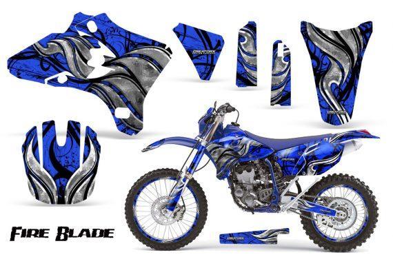Yamaha YZ250 YZ450 03 05 WR250 WR450 05 06 CreatorX Graphics Kit Fire Blade Black Blue BLB NP Rims 570x376 - Suzuki Dirt Bike Graphics