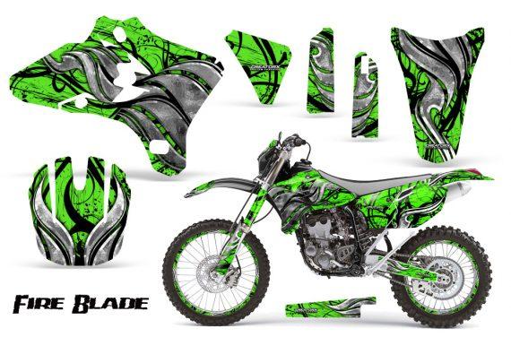 Yamaha YZ250 YZ450 03 05 WR250 WR450 05 06 CreatorX Graphics Kit Fire Blade Black Green BB NP Rims 570x376 - Suzuki Dirt Bike Graphics