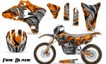 Yamaha YZ250 YZ450 03 05 WR250 WR450 05 06 CreatorX Graphics Kit Fire Blade Black Orange BB NP Rims 150x90 - Suzuki Dirt Bike Graphics