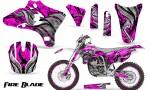 Yamaha YZ250 YZ450 03 05 WR250 WR450 05 06 CreatorX Graphics Kit Fire Blade Black Pink WB NP Rims 150x90 - Suzuki Dirt Bike Graphics
