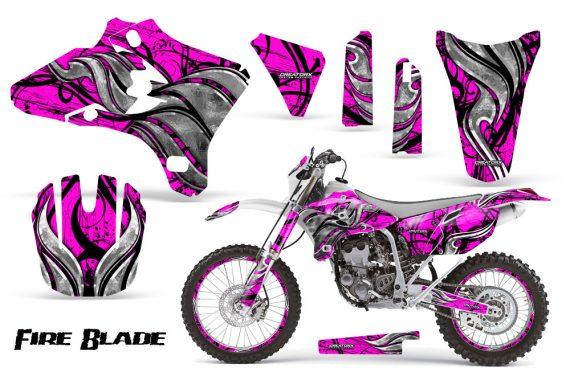 Yamaha YZ250 YZ450 03 05 WR250 WR450 05 06 CreatorX Graphics Kit Fire Blade Black Pink WB NP Rims 570x376 - Suzuki Dirt Bike Graphics