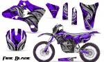 Yamaha YZ250 YZ450 03 05 WR250 WR450 05 06 CreatorX Graphics Kit Fire Blade Black Purple NP Rims 150x90 - Suzuki Dirt Bike Graphics