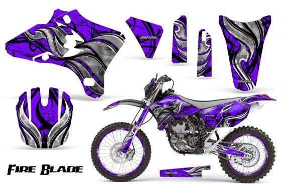 Yamaha YZ250 YZ450 03 05 WR250 WR450 05 06 CreatorX Graphics Kit Fire Blade Black Purple NP Rims 570x376 - Suzuki Dirt Bike Graphics