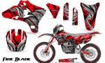 Yamaha YZ250 YZ450 03 05 WR250 WR450 05 06 CreatorX Graphics Kit Fire Blade Black Red BB NP Rims 150x90 - Suzuki Dirt Bike Graphics